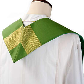 Liturgical stole in wool with golden stripes s7