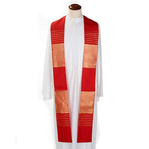 Liturgical stole in wool with golden stripes 2