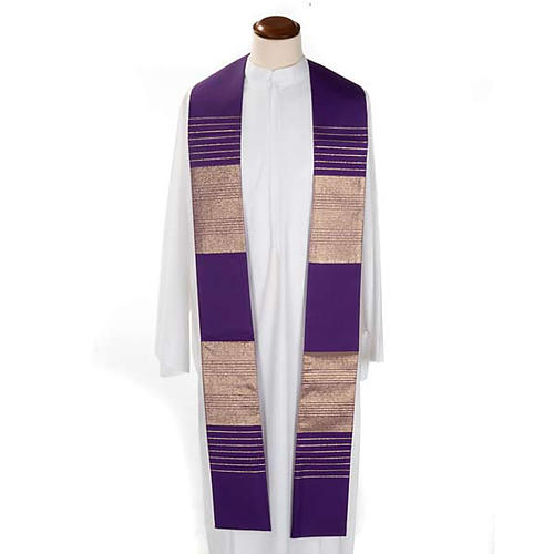 Liturgical stole in wool with golden stripes 3