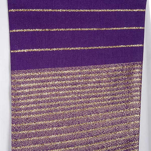 Liturgical stole in wool with golden stripes 6