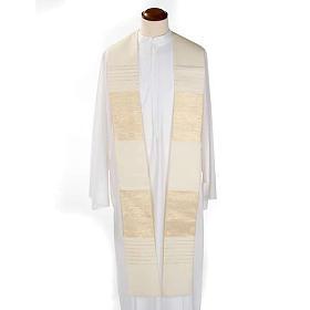 Étole de prêtre laine bandes dorées s4