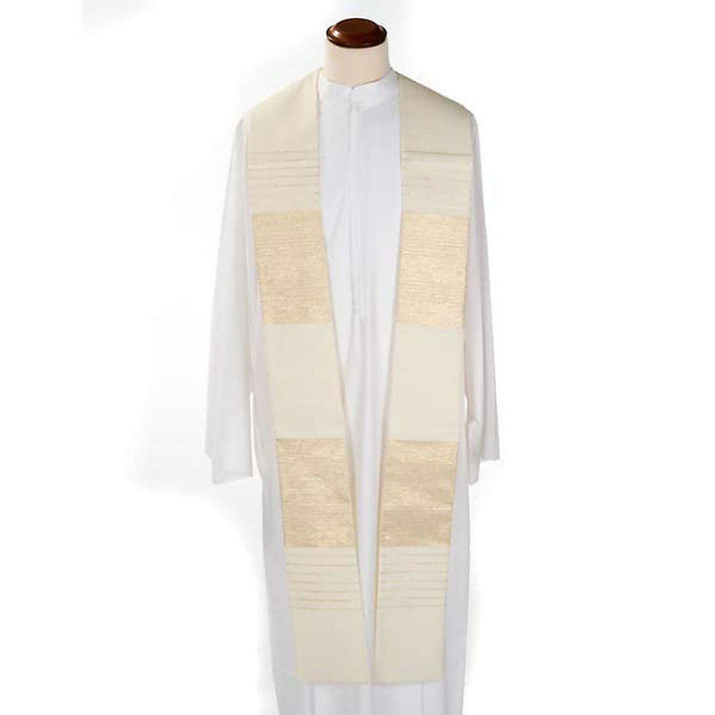 Stola liturgica pura lana strisce dorate 4