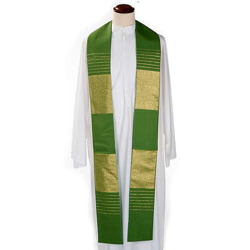 Stola liturgica pura lana strisce dorate 1