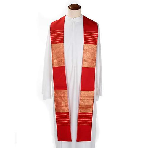 Stola liturgica pura lana strisce dorate 2