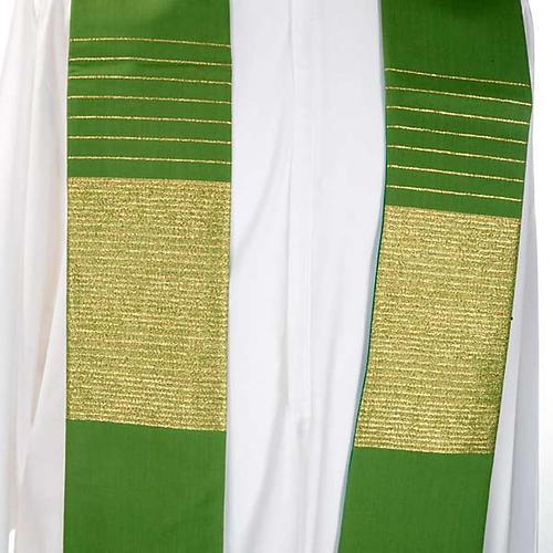 Stola liturgica pura lana strisce dorate 5
