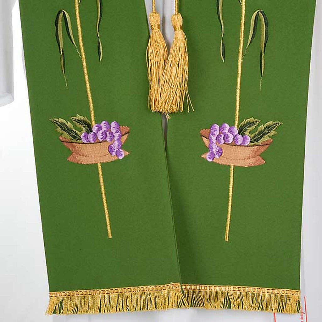 Liturgical stole with JHS, ear of wheat, grapes and host 4