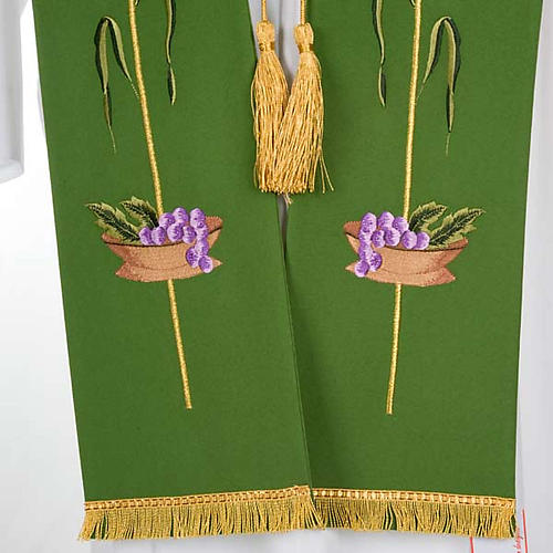 Liturgical stole with JHS, ear of wheat, grapes and host 6