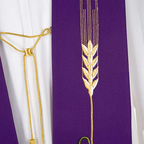 Liturgical stole with JHS, ear of wheat, grapes and host 7