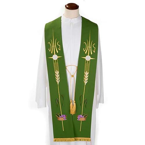 Étole de prêtre IHS épis hostie raisins 3