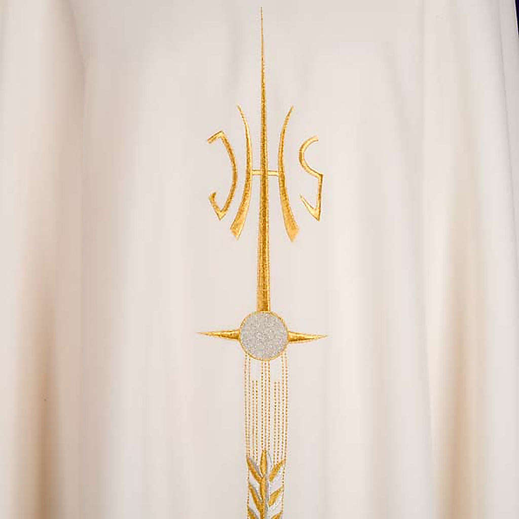 Stola liturgica IHS spiga ostia uva 4
