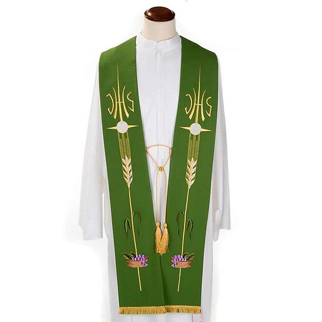 Estola litúrgica IHS trigo hóstia uva 4