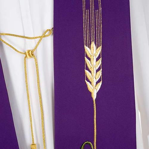 Estola litúrgica IHS trigo hóstia uva 7
