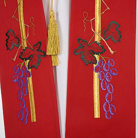 Liturgical stole with golden cross, ear of wheat and grapes s4