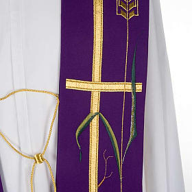 Liturgical stole with golden cross, ear of wheat and grapes s5