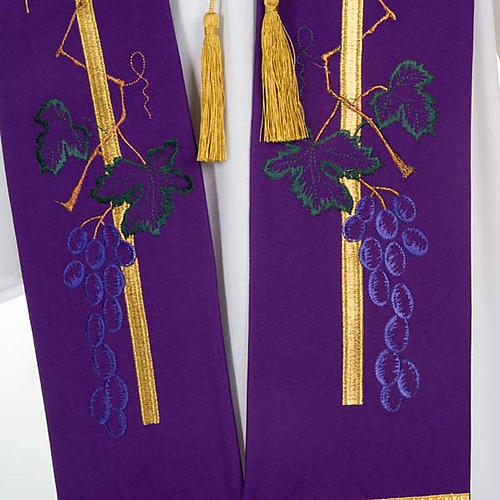 Liturgical stole with golden cross, ear of wheat and grapes 3