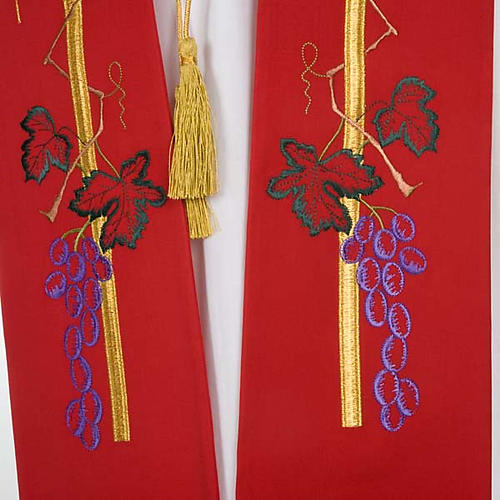 Liturgical stole with golden cross, ear of wheat and grapes 4
