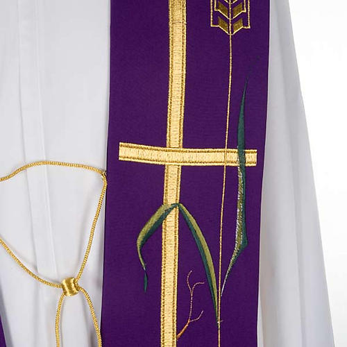 Liturgical stole with golden cross, ear of wheat and grapes 5