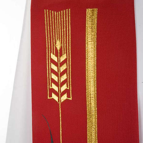 Liturgical stole with golden cross, ear of wheat and grapes 6