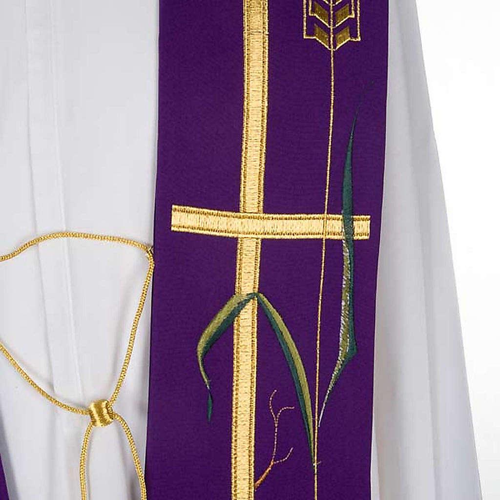 Étole de prêtre croix dorée raisins 4