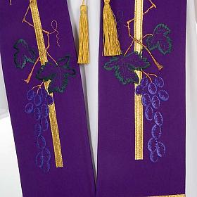 Étole de prêtre croix dorée raisins s3