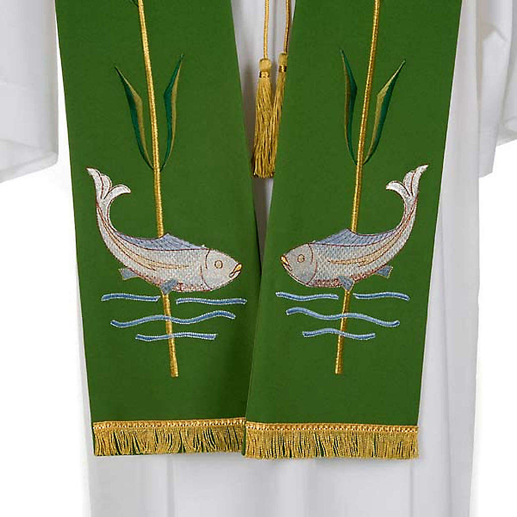 Liturgical stole with ear of wheat and fish 4