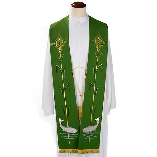 Liturgical stole with ear of wheat and fish 1