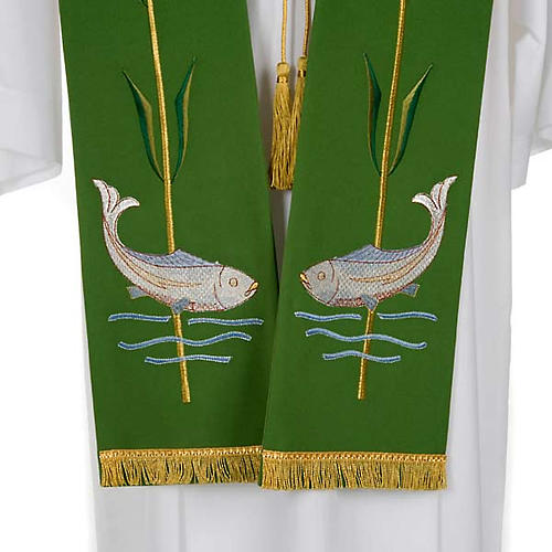 Liturgical stole with ear of wheat and fish 2