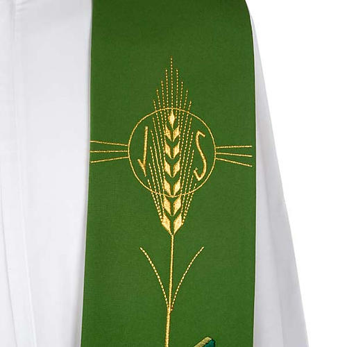 Liturgical stole with ear of wheat and fish 3