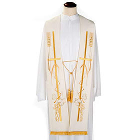 Liturgical stole with golden cross ear of wheat and grapes  s2
