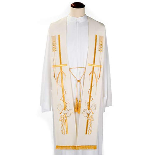 Liturgical stole with golden cross ear of wheat and grapes  2
