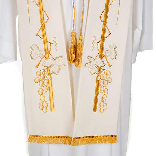 Liturgical stole with golden cross ear of wheat and grapes  5
