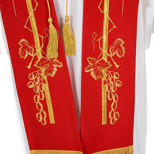 Liturgical stole with golden cross ear of wheat and grapes  7