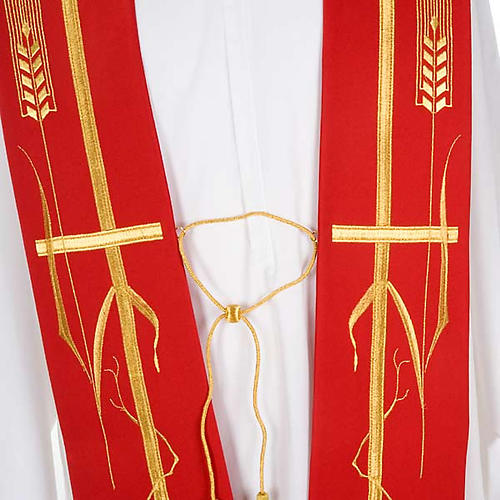 Clergy Stole with golden cross ear of wheat and grapes 4