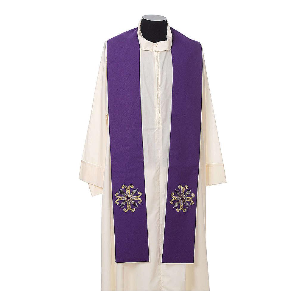 Stola sacerdotale croce con perlina vetro 4