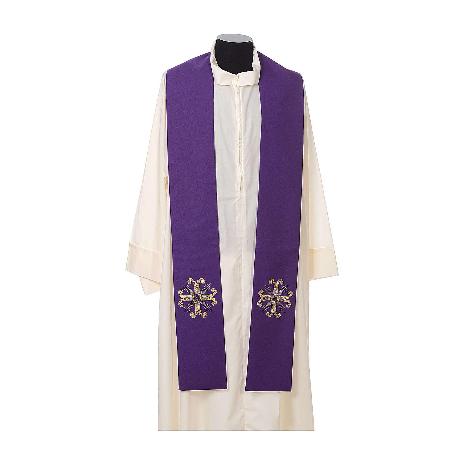Stuła kapłańska krzyż z perełką szklaną 4