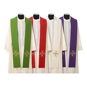 Stuła kapłańska krzyż z perełką szklaną s1