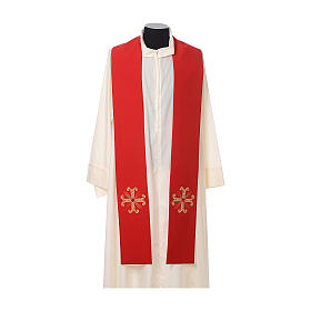 Stuła kapłańska krzyż z perełką szklaną s3