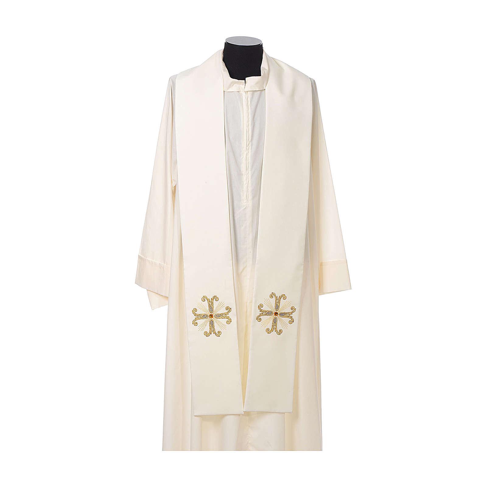 Estola sacerdotal cruz com conta vidro 4