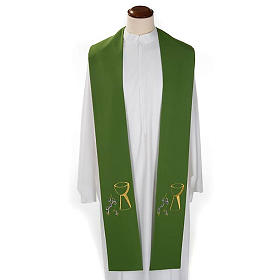 Liturgical stole with chalice and grapes embroidery s2
