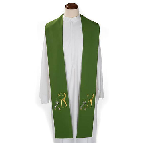 Liturgical stole with chalice and grapes embroidery 2
