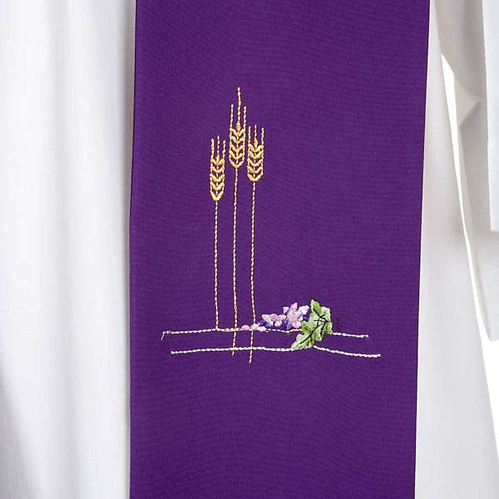 Liturgical stole with ears of wheat and grapes, coloured 4