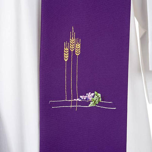 Liturgical stole with ears of wheat and grapes, coloured 6