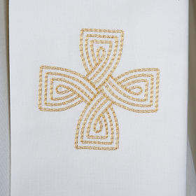 Priest Stole with golden cross and interlaced embroidery s2
