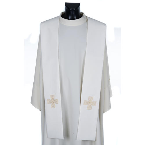 Priest Stole with golden cross and interlaced embroidery 1