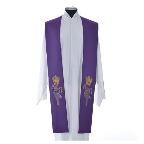 Étole de prêtre alpha oméga 9