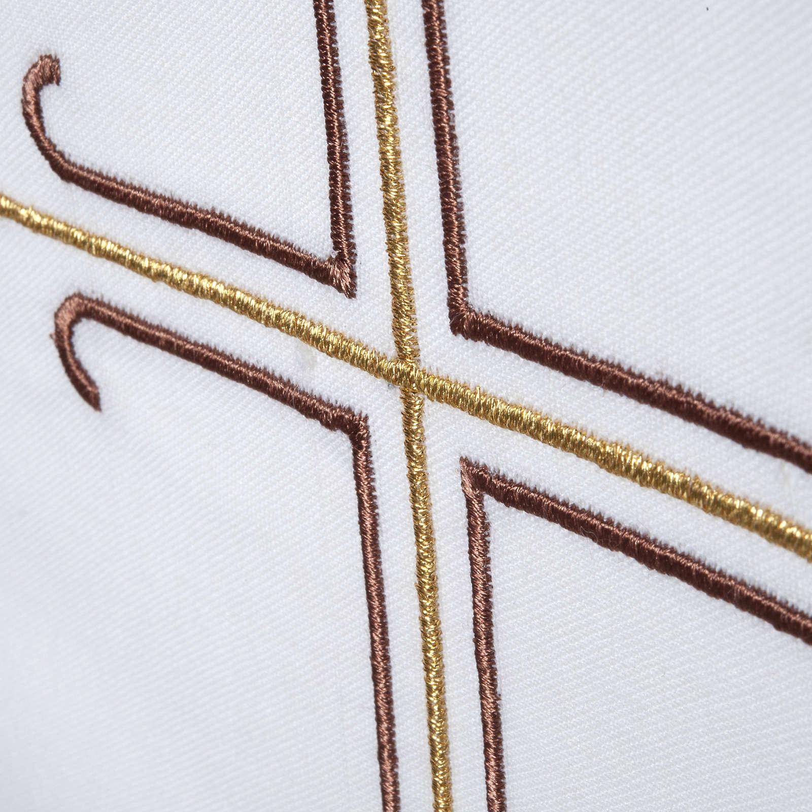 Stola bianca croce marrone dorata 4