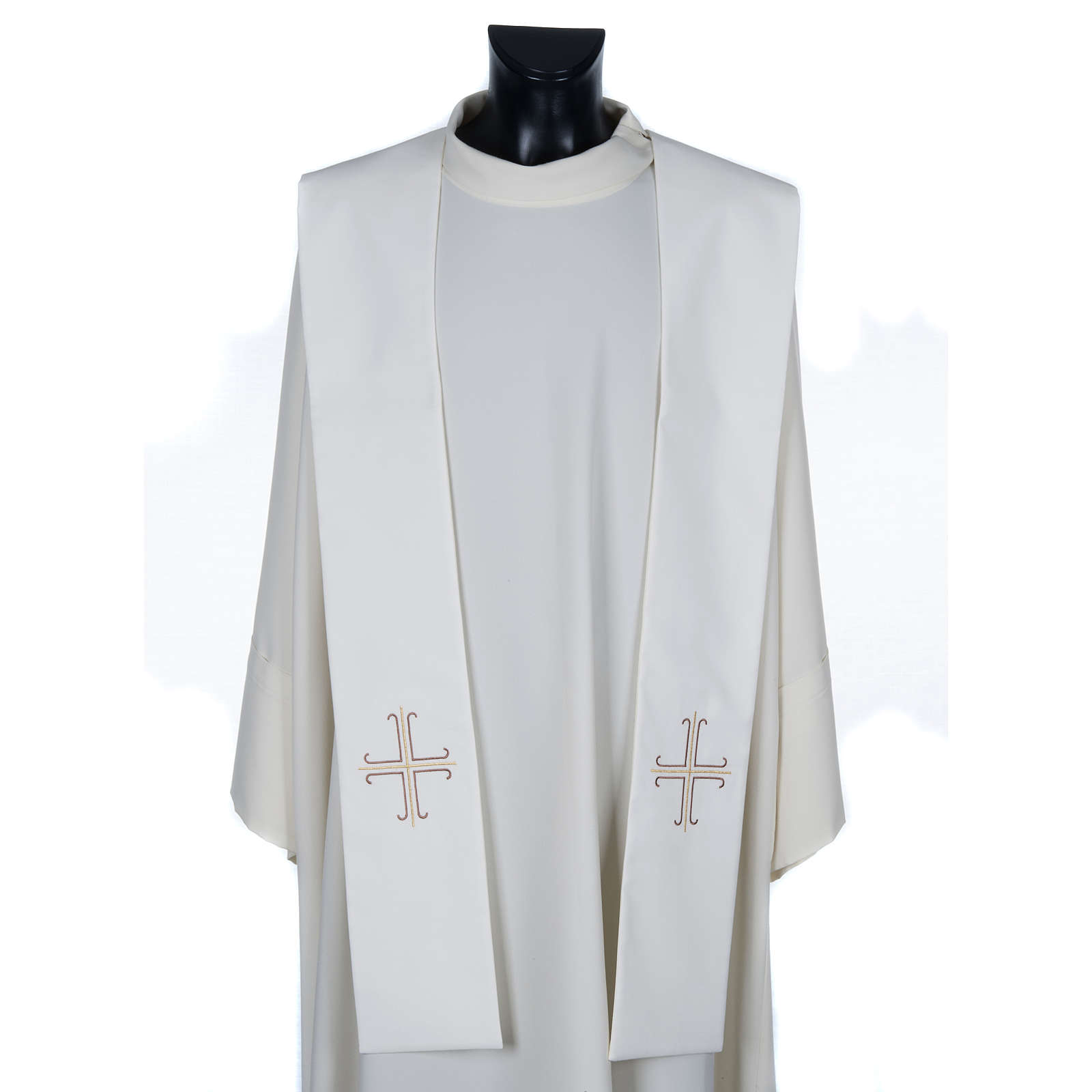 Stuła biała haftowana krzyż brązowy złoty 4