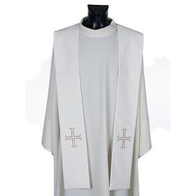 Stuła biała haftowana krzyż brązowy złoty s1