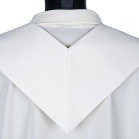 Stuła biała haftowana krzyż brązowy złoty s2