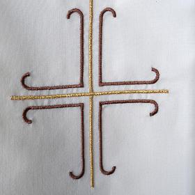 Stuła biała haftowana krzyż brązowy złoty s3